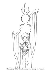 Kleurplaat, Jongen met harp en schaduw van een magisch wezen