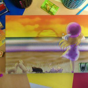 Canvas, Meisje, Hond, Kat, Strand, Ondergaande zon